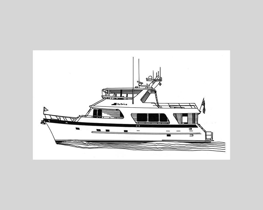 Yacht Portraits Drawing - Luxury Motoryacht by Jack Pumphrey