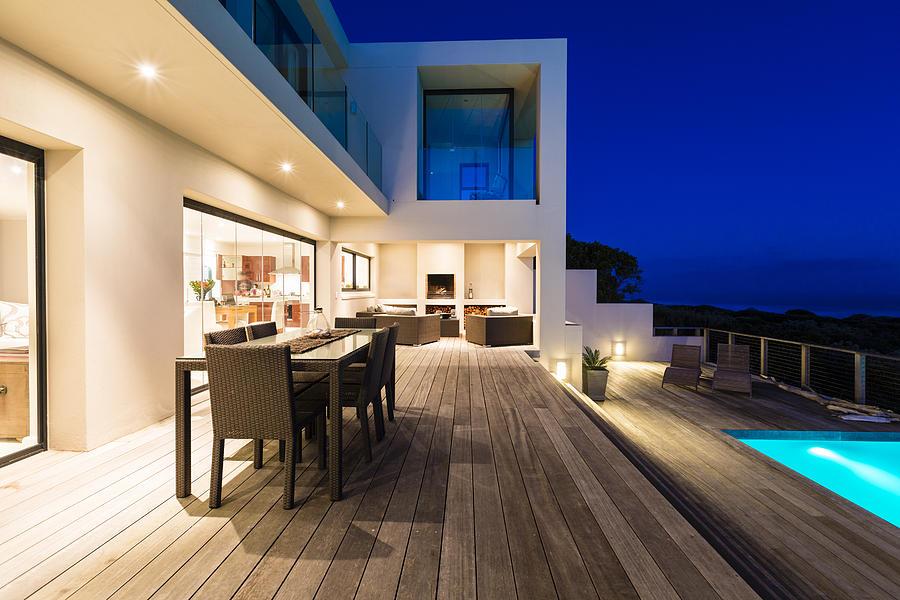 Luxury Villa Pool Deck at Dusk Photograph by Mseidelch