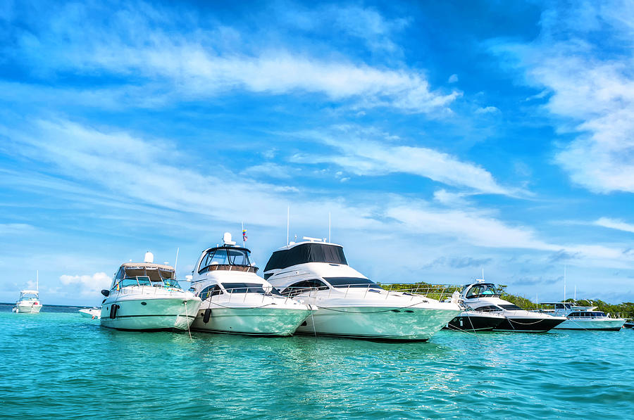 Luxury Yachts Anchored In A Tropical Photograph by Apomares