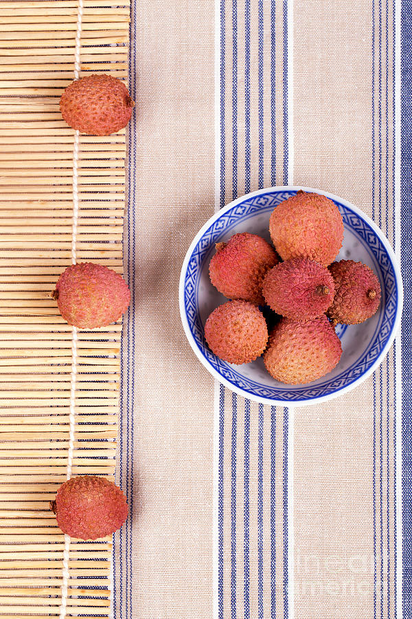 Fruit Photograph - Lychess With Bamboo Mat by Jane Rix