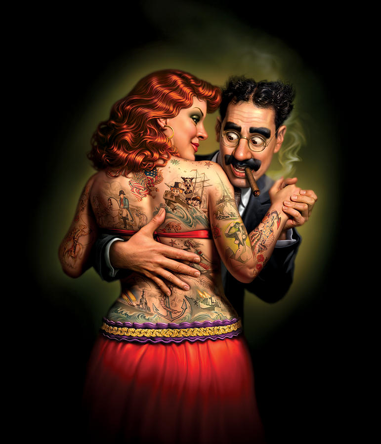 Tattoos Painting - Lydia the Tattooed Lady by Mark Fredrickson
