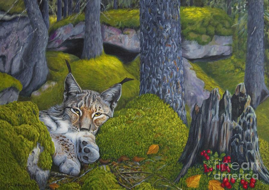 Artist Painting - Lynx In The Sun by Veikko Suikkanen