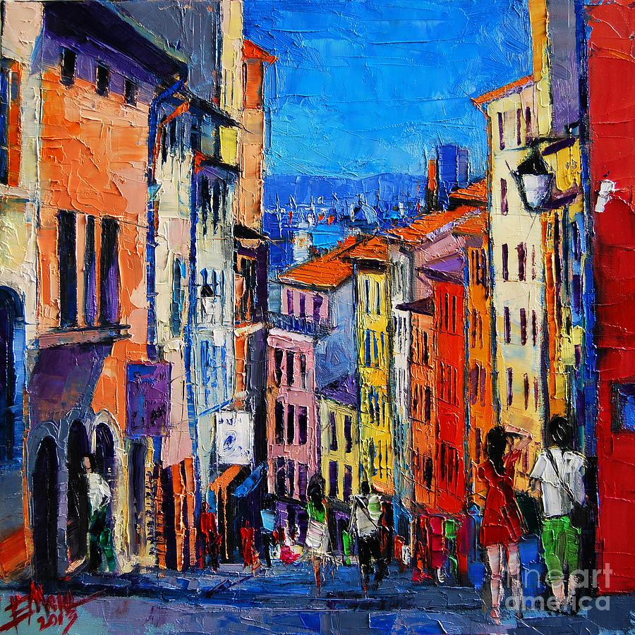 Emona Painting - Lyon Colorful Cityscape by Mona Edulesco