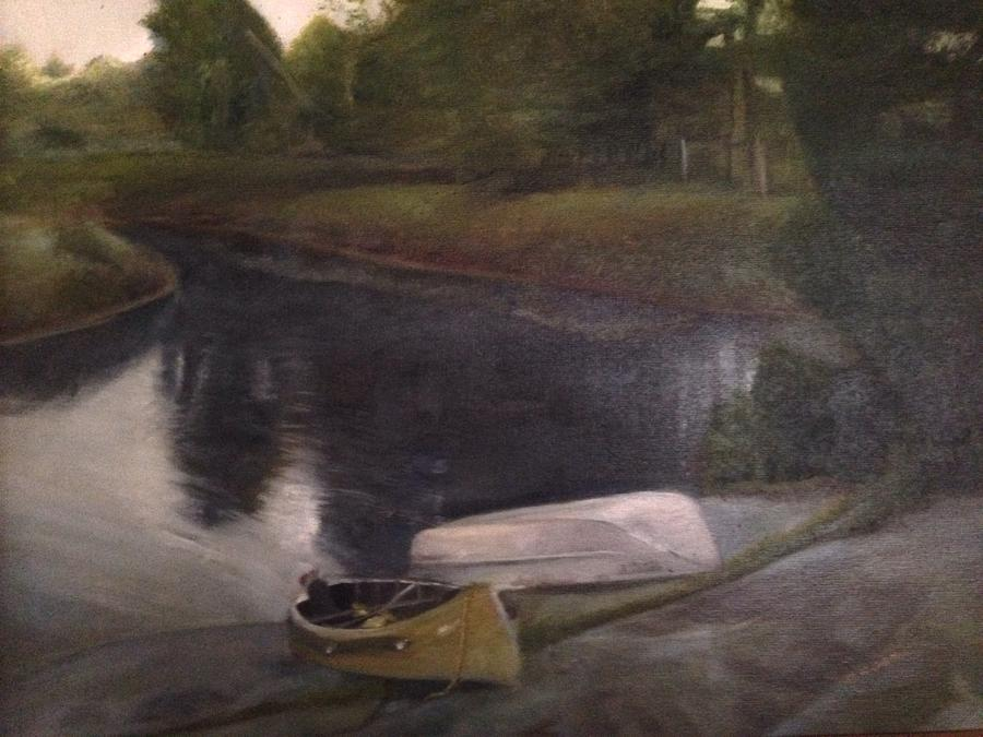 Moose River Painting - Lyons Falls  - Moose River by Sheila Mashaw