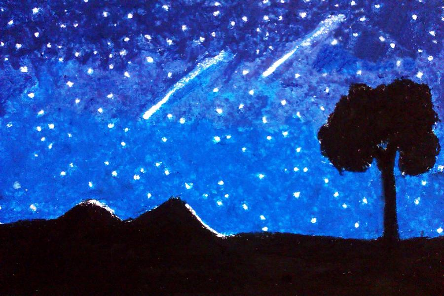 Meteor Shower Painting - Lyrids by Eliza Paul