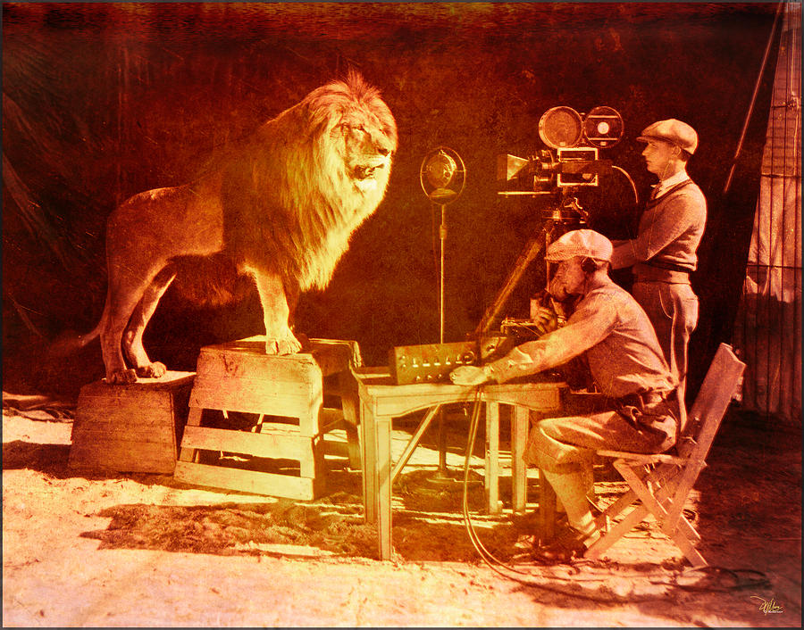 Historical Painting - M G M Filming Of Leo The Lion Production Logo 1917 To 1928 by Douglas MooreZart