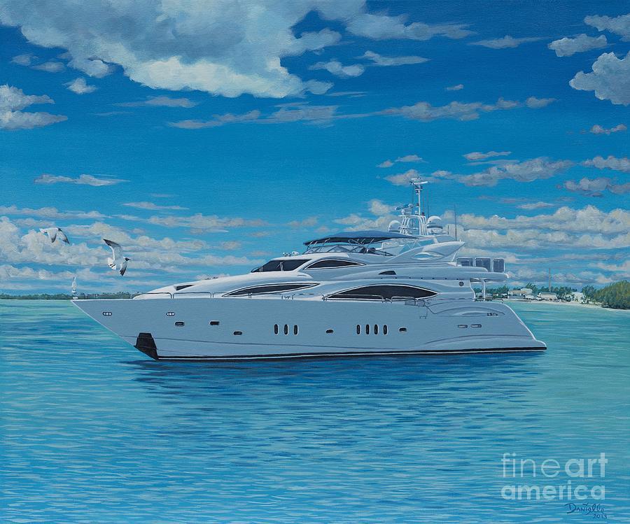 Luxury Yacht Painting - M/y Giga-btye by Danielle  Perry