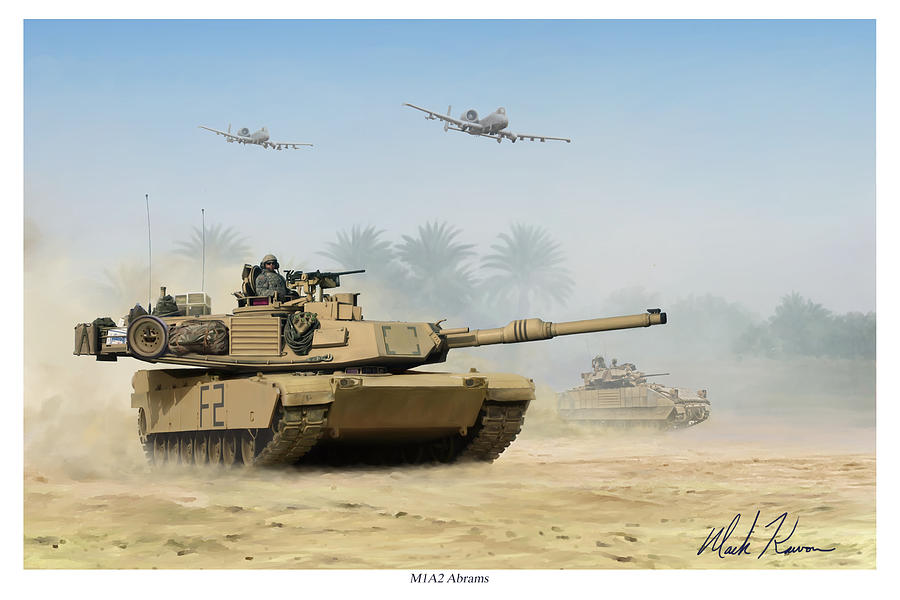 Tank Painting - M1a2 Abrams by Mark Karvon
