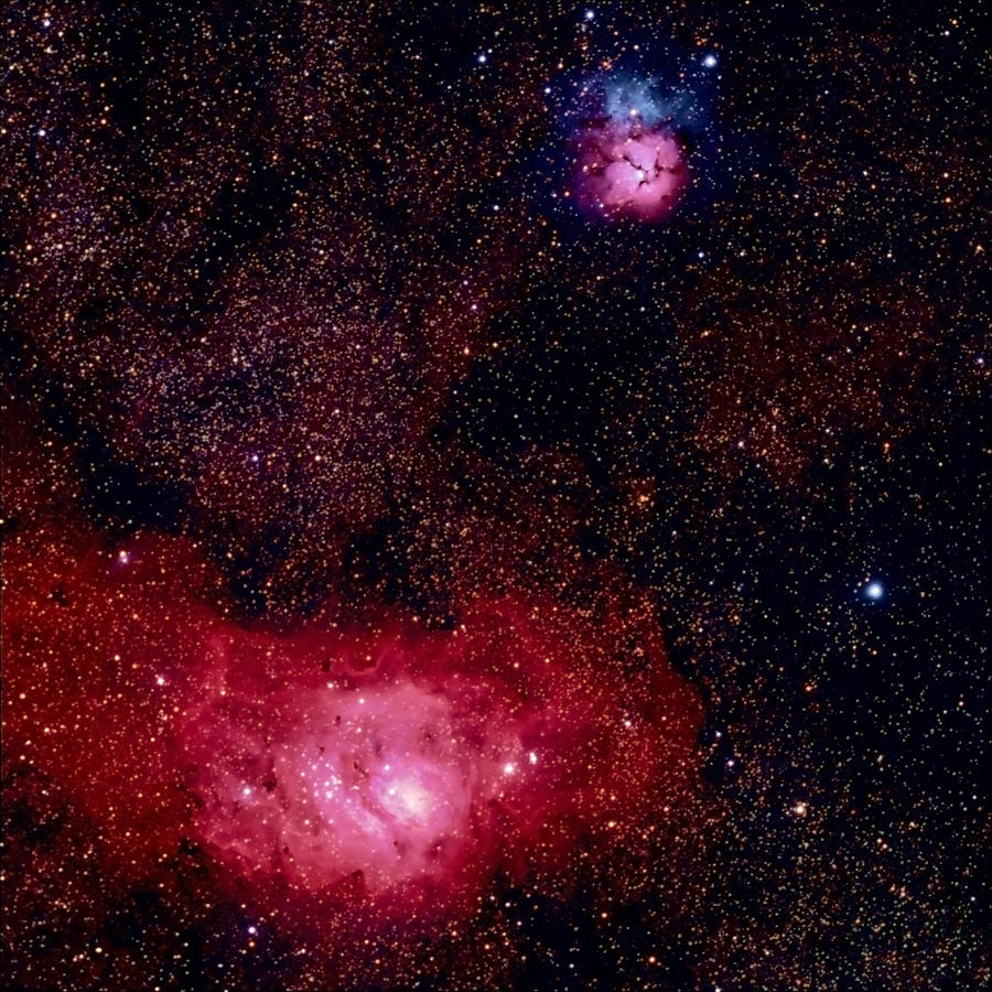 M8 The Lagoon Nebula And M20 The Trifid Photograph by A. V. Ley