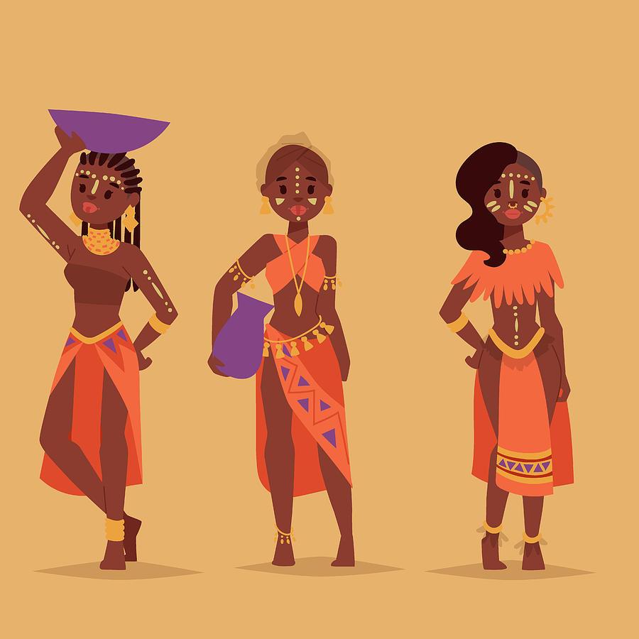Maasai African People In Traditional Digital Art by Vectormoon