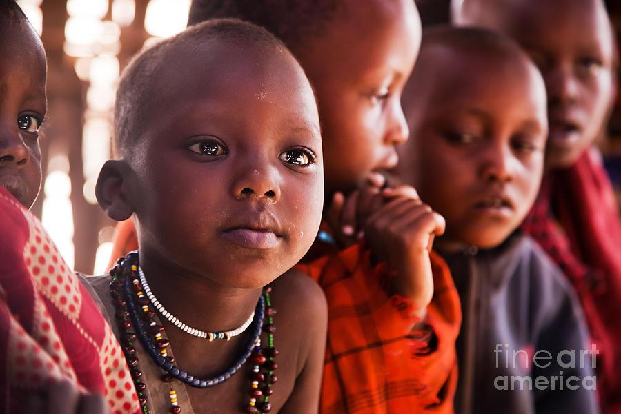 Africa Photograph - Maasai Children In School In Tanzania by Michal Bednarek
