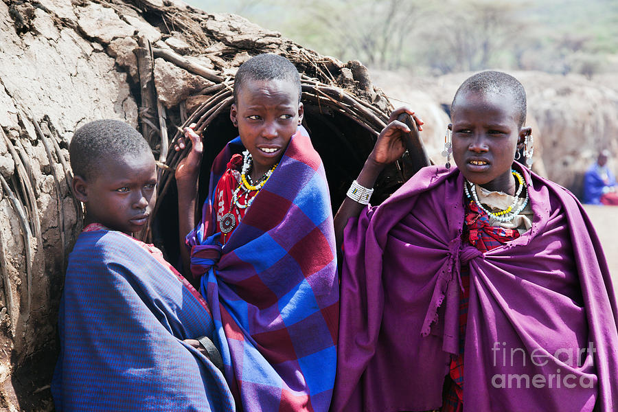 Maasai Children Portrait In Tanzania Photograph by Michal