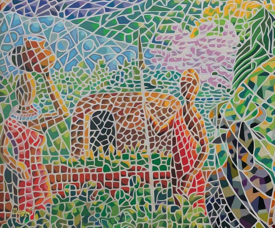 Acrylics Painting - Maasai Couple And Cow by Anthony Mwangi