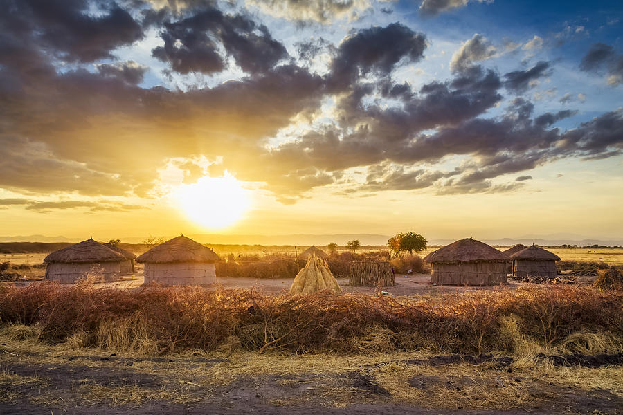 Maasai village by Sunset - Tarangire National Park Photograph by Cinoby