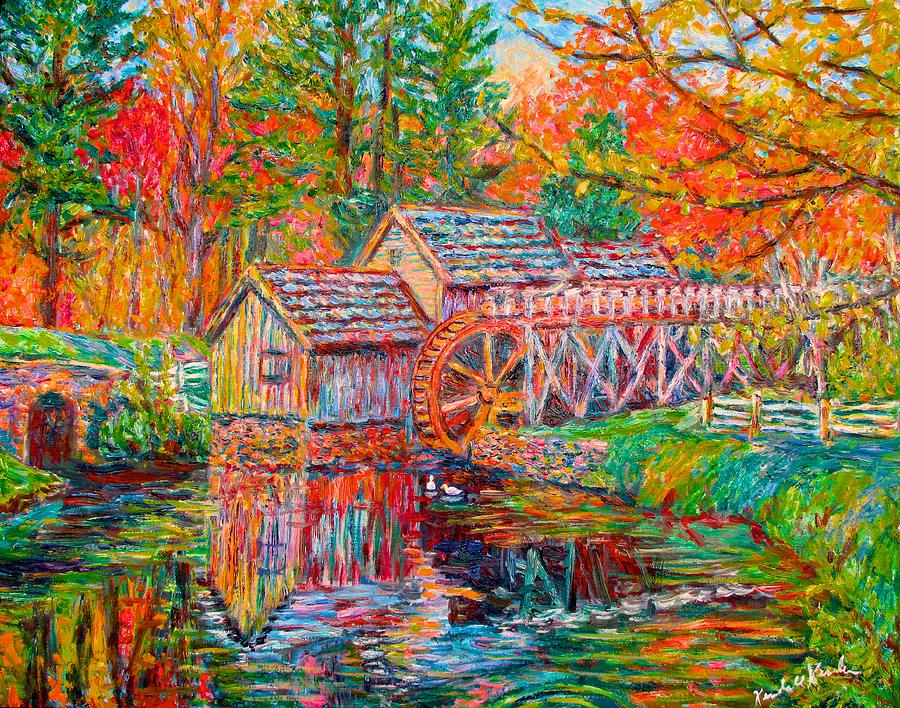 Mabry Mill Painting - Mabry Mill in Fall by Kendall Kessler