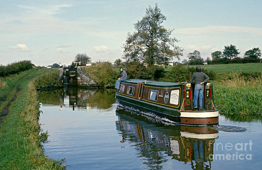 Narrow Boat Photograph - Macclesfield Canal 1975 by David Davies