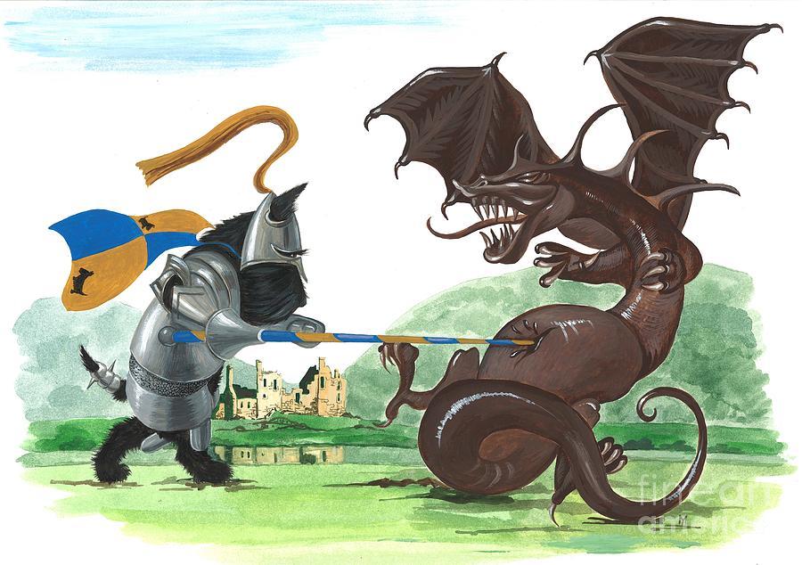 Painting Painting - Macduff And The Dragon by Margaryta Yermolayeva