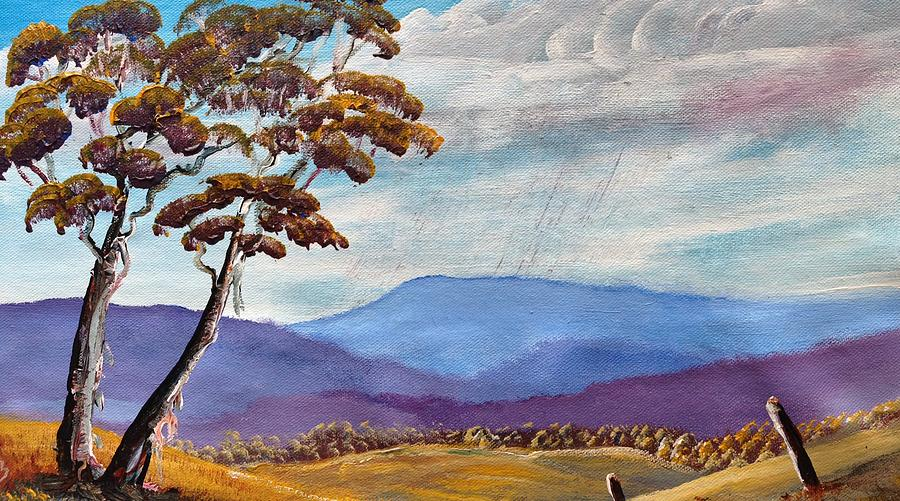 Mountains Painting - Macedon Blue by David Belcastro