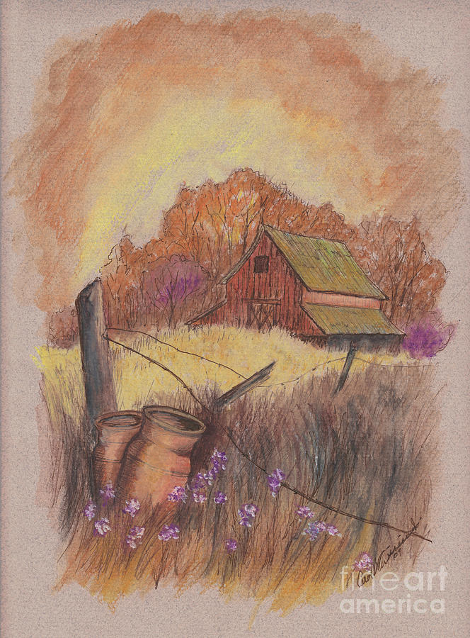 Pastel Drawing Drawing - Macgregors Barn Pstl by Carol Wisniewski