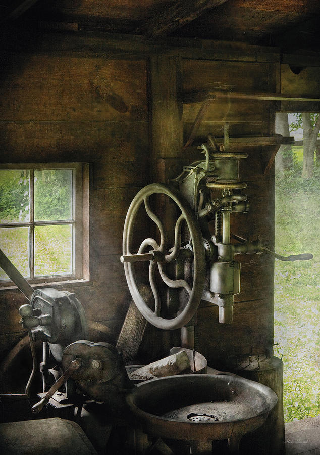 Blacksmith Photograph - Machine Shop - An Old Drill Press by Mike Savad