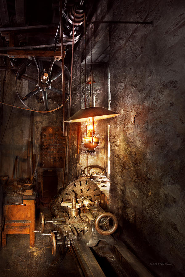 Machinist Photograph - Machinist - Lathe - The corner of an old workshop by Mike Savad