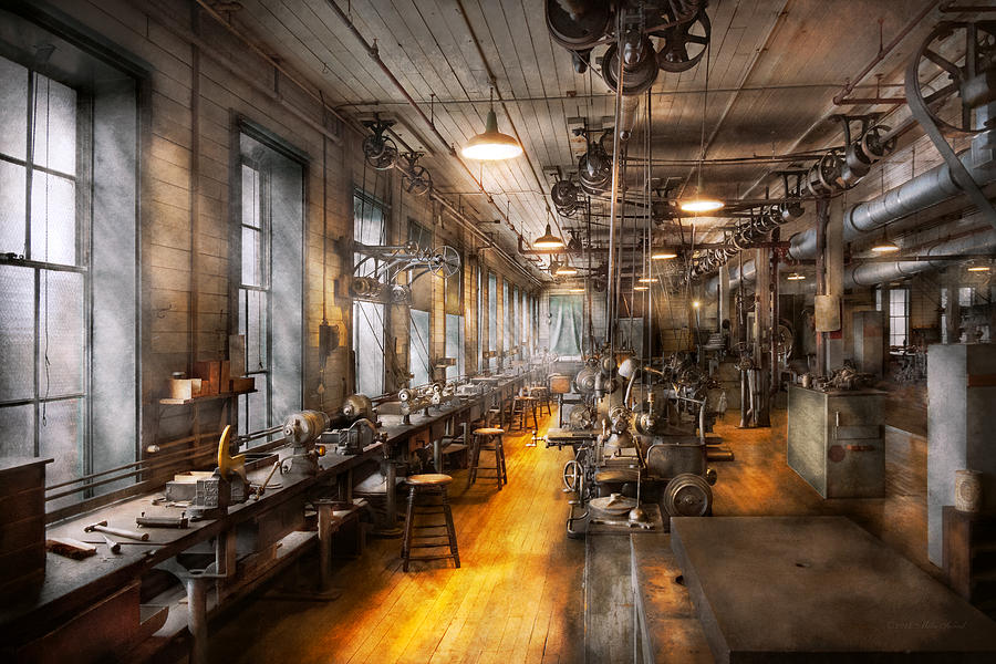 Steampunk Photograph - Machinist - Santas Old Workshop by Mike Savad