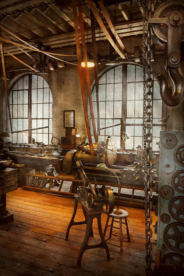 Machinist Photograph - Machinist - The Crowded Workshop by Mike Savad
