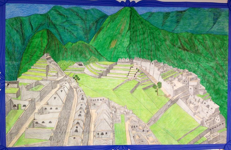 Ruins Drawing - Machu Picchu by Yusbel Lopez