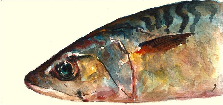 Horse Mackerel Painting - Mackerel fish by Juan  Bosco