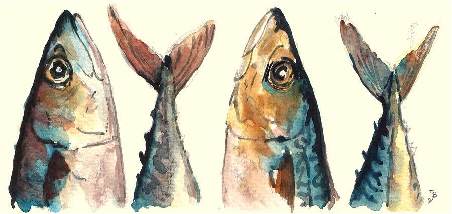 Horse Mackerel Painting - Mackerel fishes by Juan  Bosco