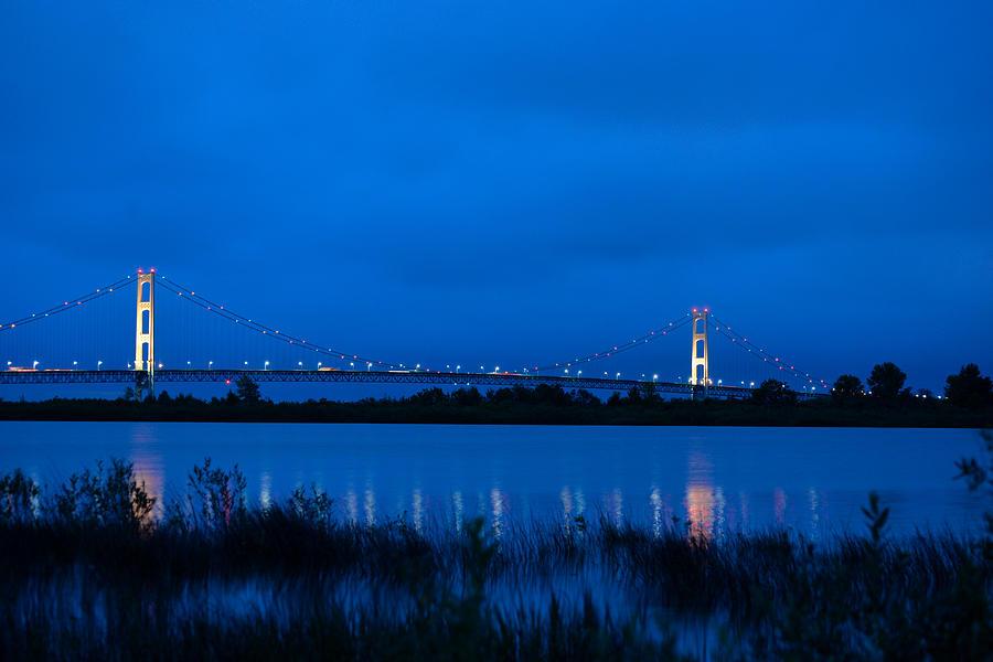 Bridge Photograph - Mackinac Bridge At Dawn by Michael Tucker