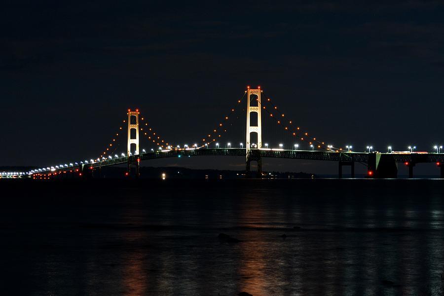 Mackinac Bridge Photograph - Mackinac Bridge At Night by Keith Stokes