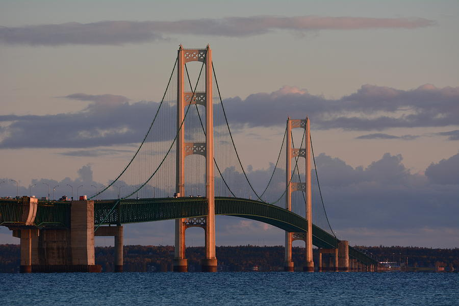 Bridge Photograph - Mackinac Bridge In The Morning Sun by Keith Stokes