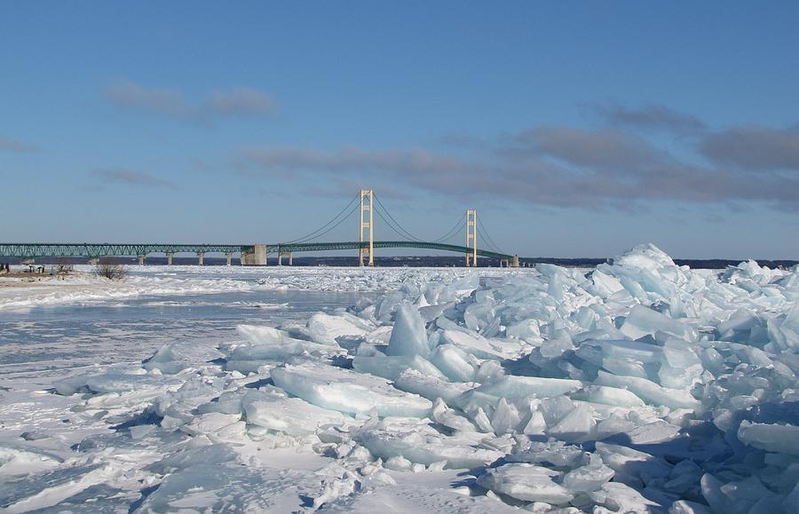 Ice Windrow Photograph - Mackinac Bridge With Ice Windrow by Keith Stokes