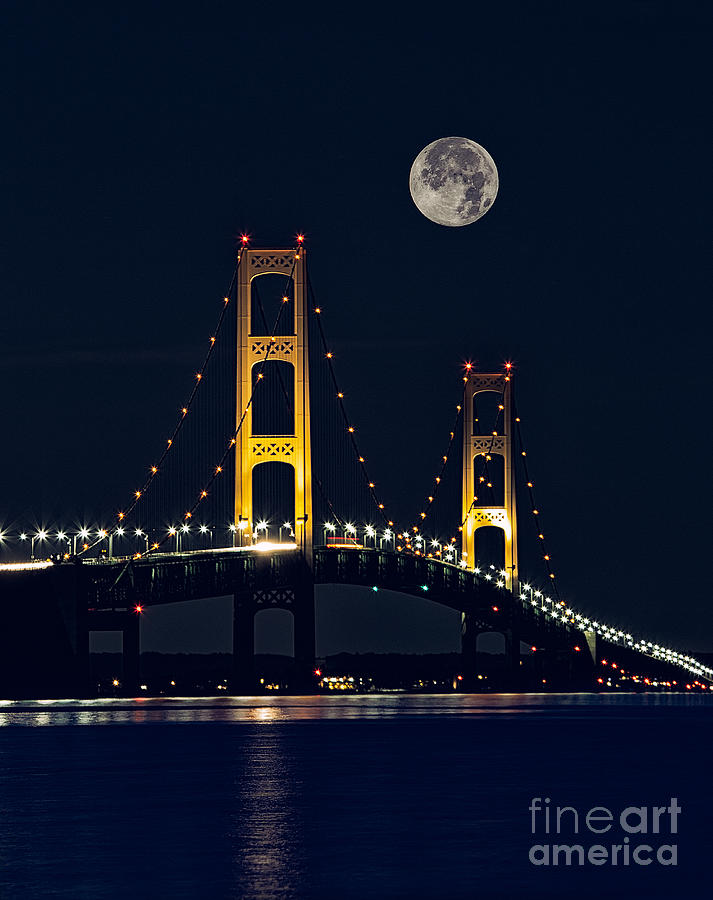 Moonrise Photograph - Mackinac Bridge With Moonrise by Todd Bielby