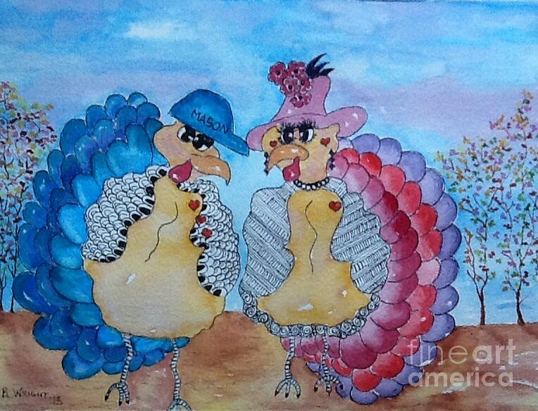 Turkey Feathers Painting - Macy Meets Mason by Bonnie Wright