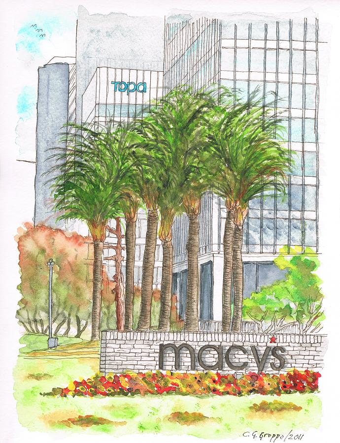 Los Angeles Painting - Macys In Century City Mall - Beverly Hills - California by Carlos G Groppa