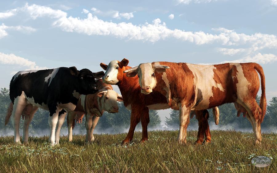 Cow Digital Art - Mad Cows by Daniel Eskridge