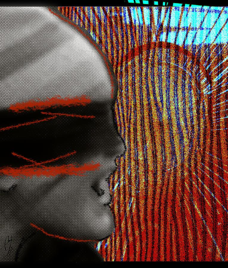 Man Digital Art - Mad Howling by Maria Jesus Hernandez