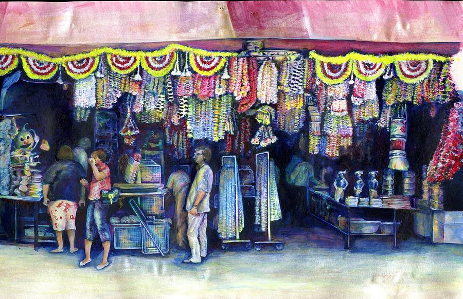 Flowers Painting - Mad Man Of Market And Main Singapore by Gaye Elise Beda