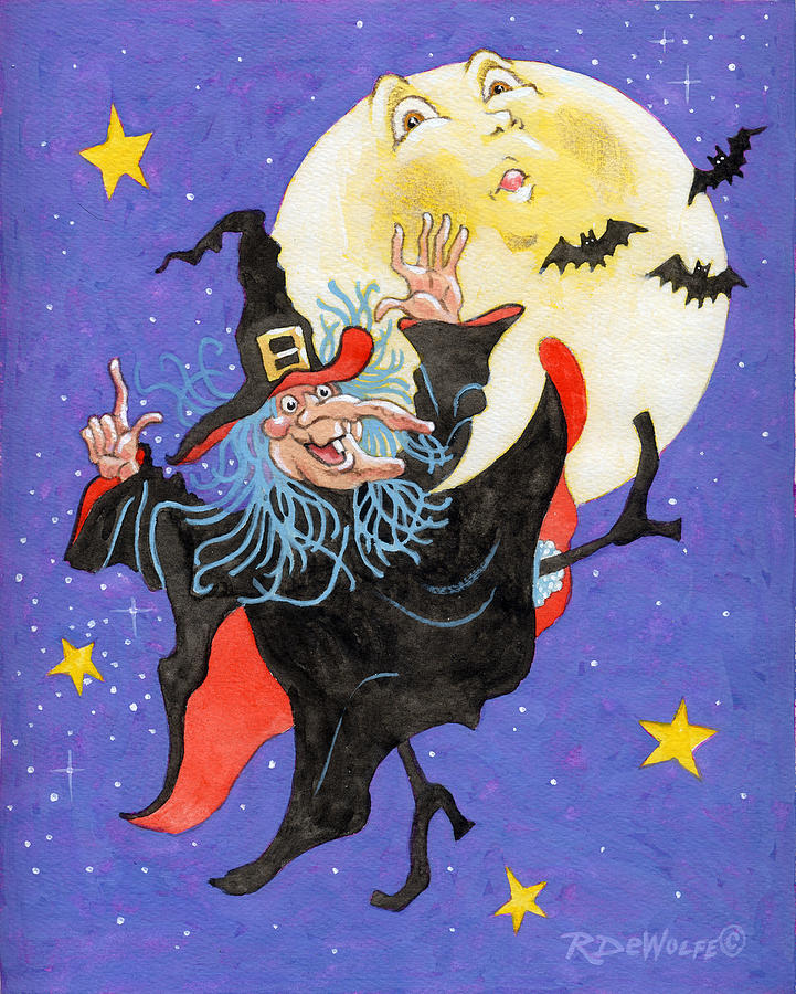 Halloween Painting - Mad Millie Moon Dance by Richard De Wolfe
