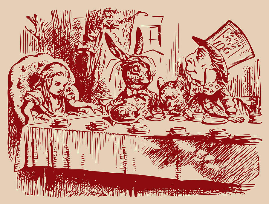 Mad Tea Party Drawing - Mad Tea Party by