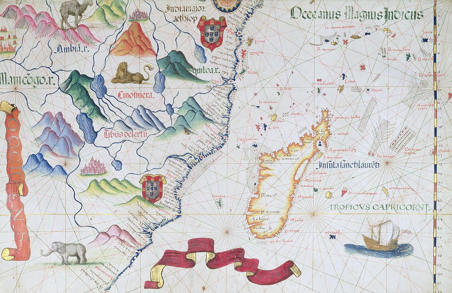 Madagascar and east african coastline detail from a world atlas map photograph madagascar and east african coastline detail from a world atlas 1565 gumiabroncs Gallery