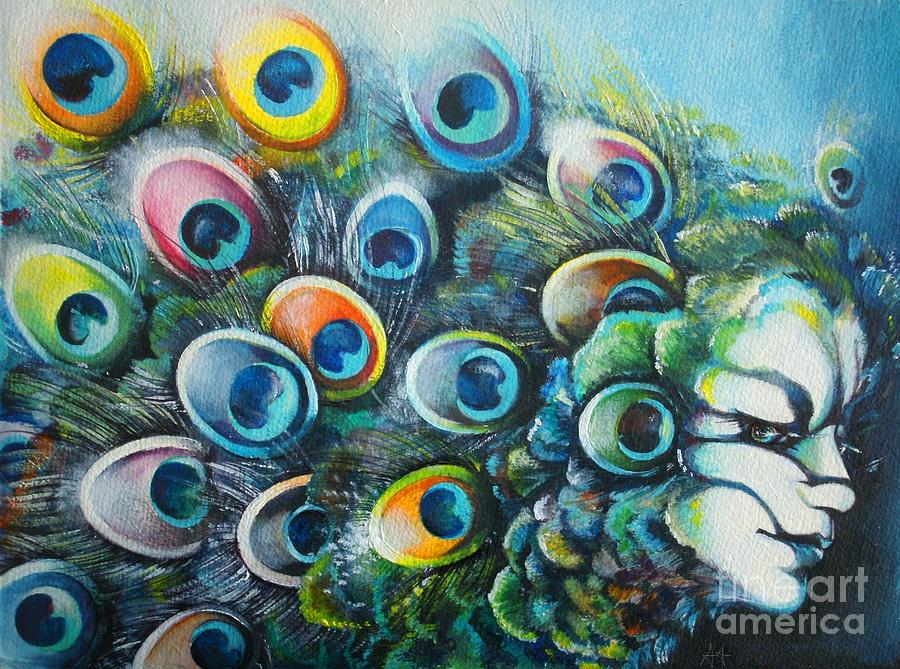 Colorful Animal Painting - Madam Peacock by Alessandra Andrisani