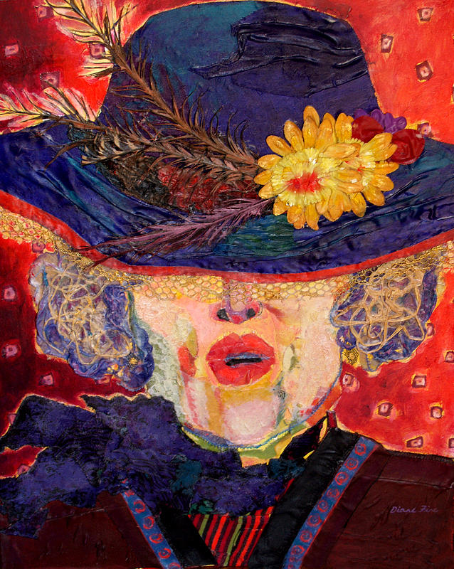 Portrait Mixed Media - Madame Hatter by Diane Fine