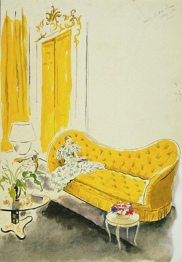 Madame Luce On A Yellow Sofa Digital Art by Cecil Beaton