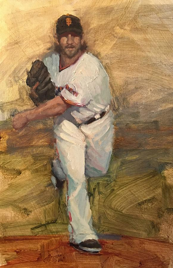 Madison Bumgarner Painting - Madbum Warmup Sketch by Darren Kerr