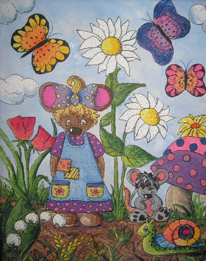 Cartoon Painting - Maddie Mouse by Megan Walsh