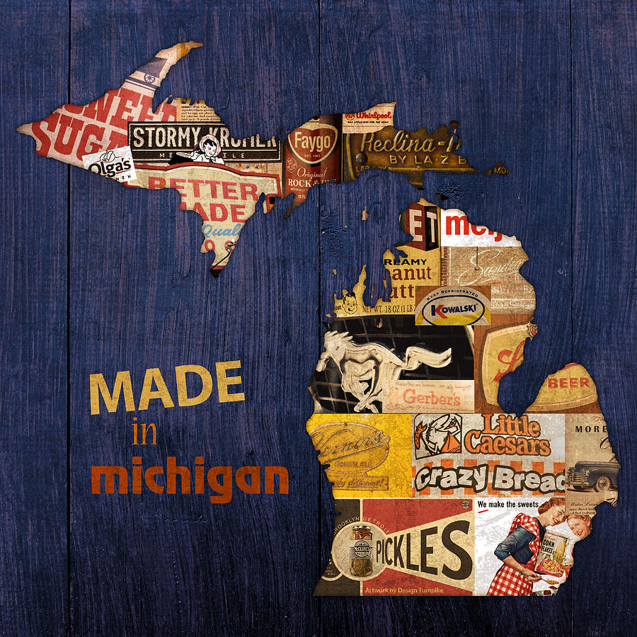 michigan map wood turnpike state poster faygo mixed detroit posters clipart ford prints fineartamerica flint mustang fine mi wall artwork