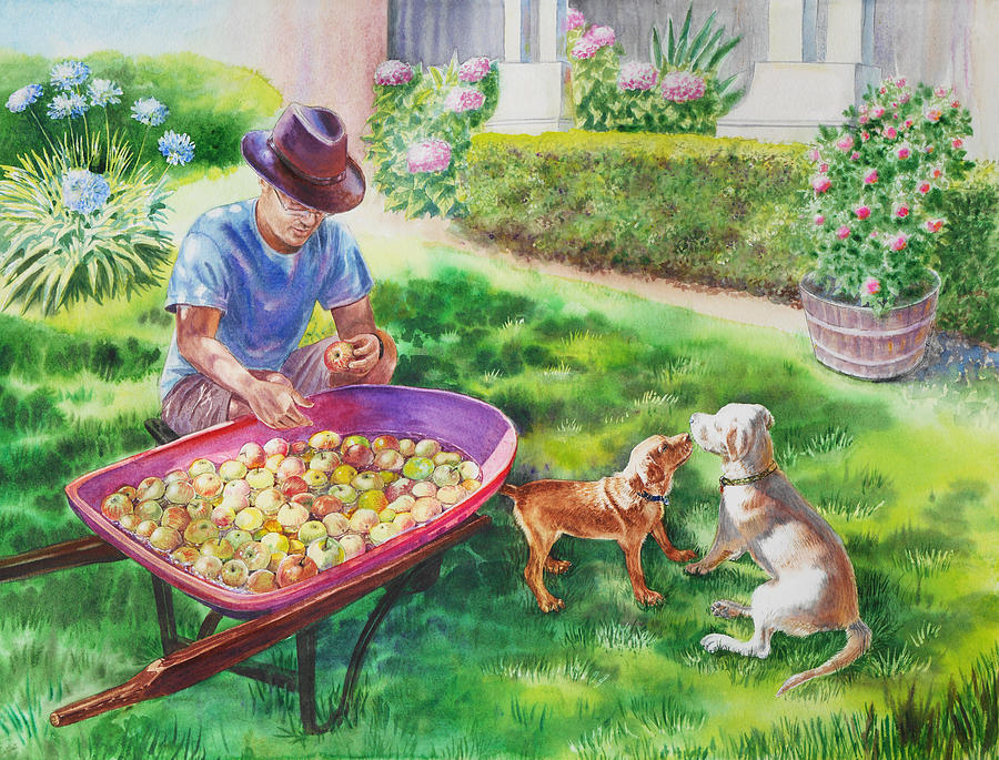 Apples Painting - Made In Usa by Irina Sztukowski